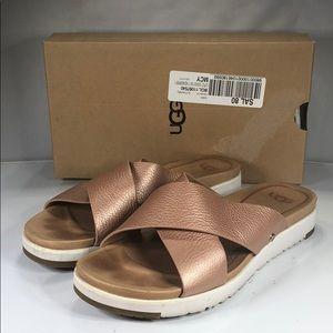 [188] UGG Kari Metallic - Womens 7.5 Pink Sandal